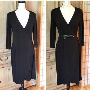 Merona Black Faux Wrap Dress 3/4 Sleeves Size Med
